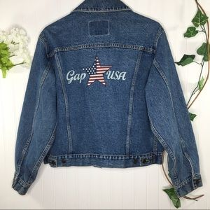 GAP Denim Jacket American Flag Star on Back Size M